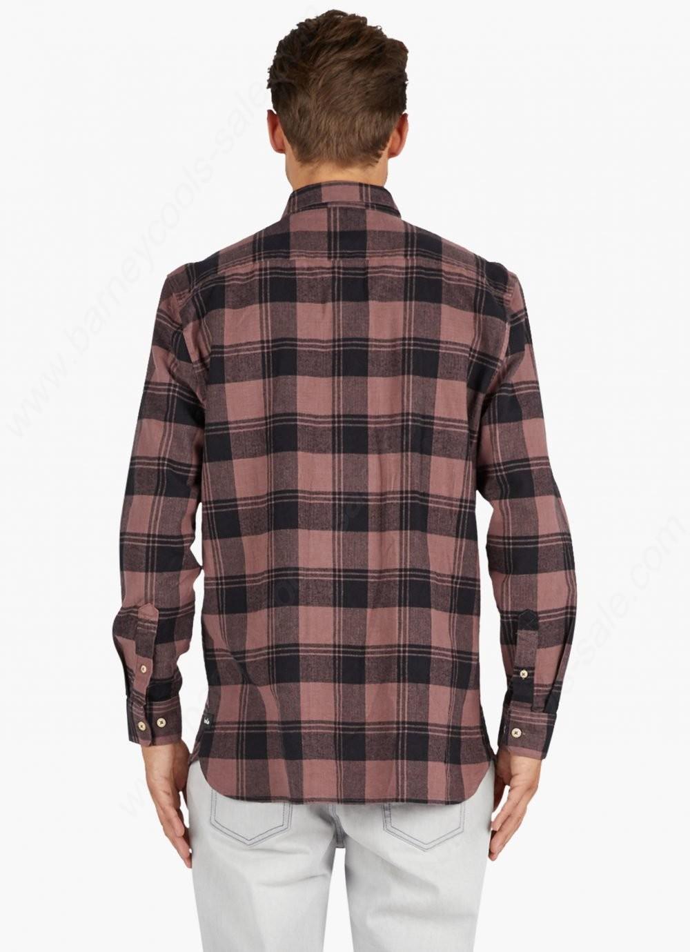 Barney Cools Mens Cabin Long Sleeve T-Shirt Rose Plaid - -4