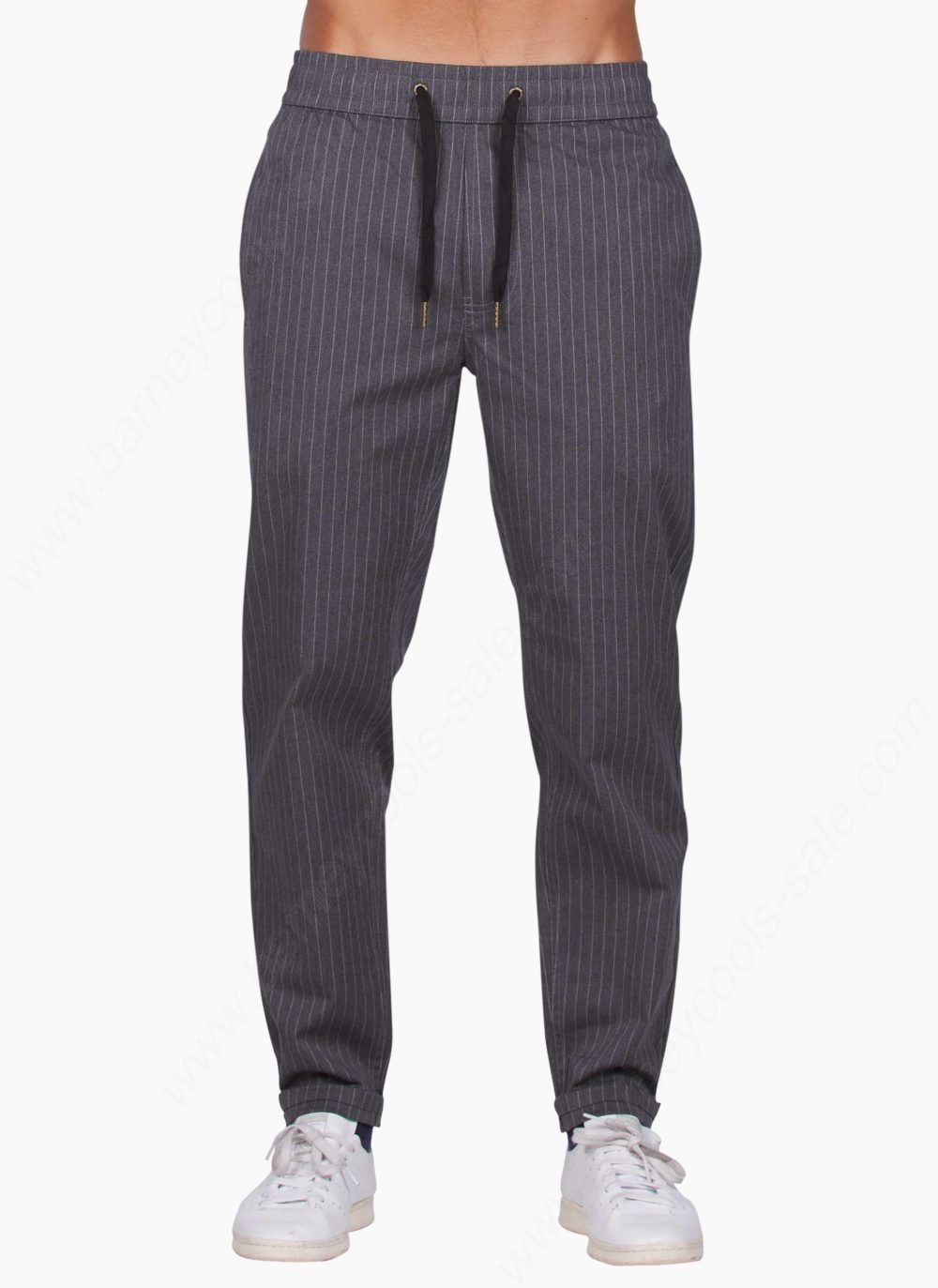 Barney Cools Men B.rabbit Chino (Carrot Fit) Charcoal Stripe Pants - Barney Cools Men B.rabbit Chino (Carrot Fit) Charcoal Stripe Pants